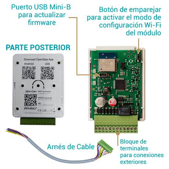 ZEM-CWI Controlador de Puerta Inteligente Wi-Fi de 2.4 GHZ para Control de Acceso